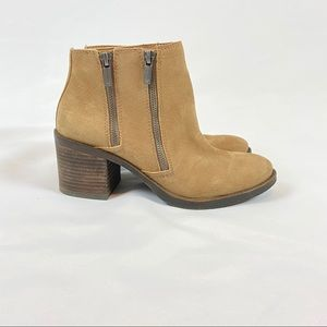 Lucky Brand Leather Zip Booties brown sz 8.5